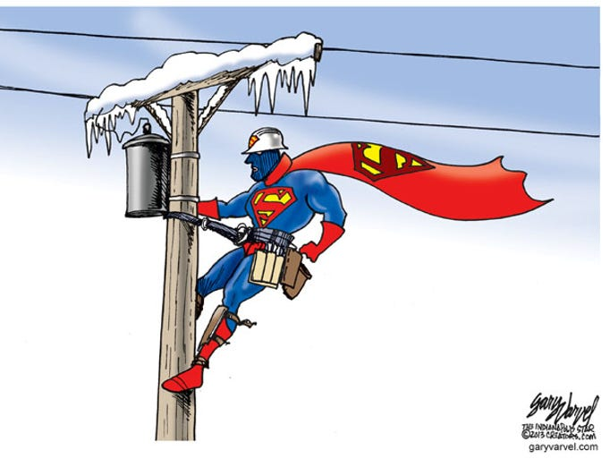 The people who brave sub-zero temperatures to restore power to the rest of us are real-life Supermen.