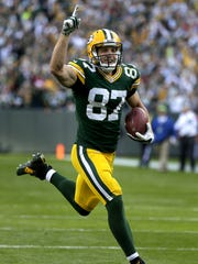 Green Bay Packers receiver Jordy Nelson cruises to the end zone after catching a throw from Aaron Rodgers.     The Green Bay Packers host the New York Jets at Lambeau Field on September 14, 2014 in Green Bay, Wis.   Wm.Glasheen/Post-Crescent Media