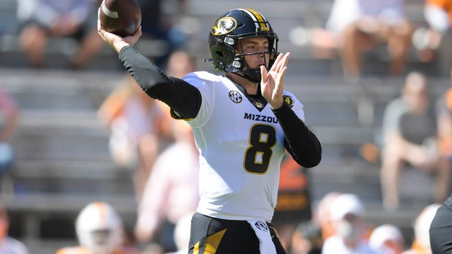 Missouri quarterback Connor Bazelak (8) throws the ball during the second quarter of a game between Tennessee and Missouri at Neyland Stadium in Knoxville, Tenn., Saturday, Oct. 3, 2020.