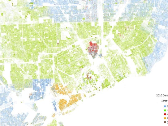 A map showing the racial boundaries of Detroit and