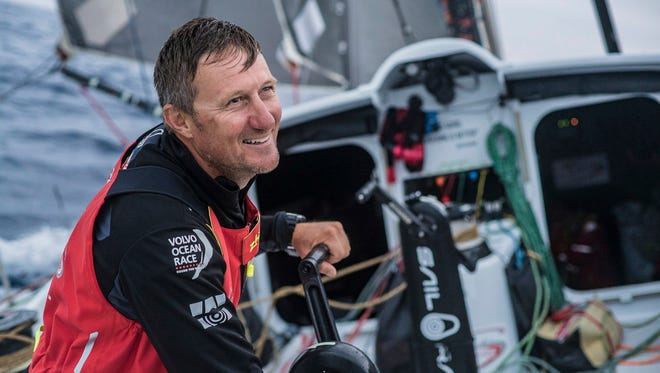 This is a Oct. 27, 2017 handout photo provided by Volvo Ocean Race of sailor John Fisher on board the Sun Hung Kai/Scallywag on day 6, during Leg 1 of the  Alicante to Lisbon race. Volvo Race officials said late Monday, March 26, 2018 that chances of finding a missing sailor were rapidly fading in the harsh, remote Southern Ocean some 1,400 miles west of Cape Horn.