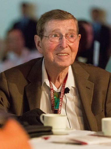 Former Sen. Pete Domenici attends his signature Domenici Public Policy Conference on Wednesday, Sept. 14, 2016, at the Las Cruces Convention Center. During the first of a two-day event, national security and defense were discussed, as well as mental health issues.
