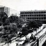 El Paso, TX, circa 1906. Looking north across San Jacinto Plaza, from upper story of old Federal Building, northeast corner of St. Louis (now Mills) and Oregon streets. Kress Department Store now on site of the old Federal Building.