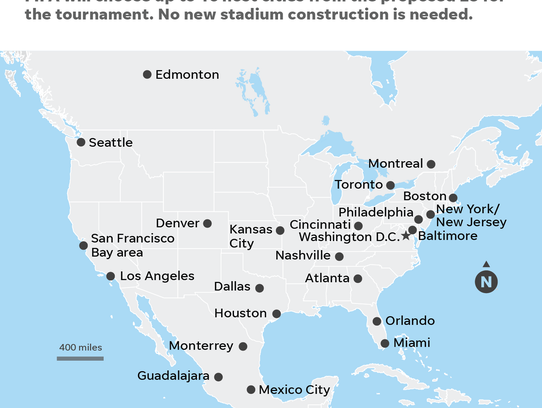 2026 host cities for World Cup. If United Bid wins.