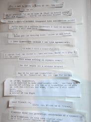 Excerpts of people's musings are posted on a wall near