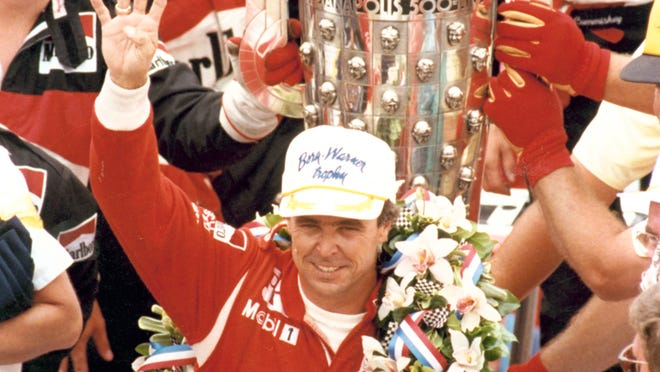 FILE - Rick Mears in the winner'ss circle after winning his fourth Indianapolis 500 in 1991.