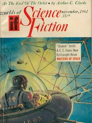 Magazine cover from 1961 Science Fiction magazine featuring E.E. or Skylark Smith's novel, Master of Space (Public Domain)