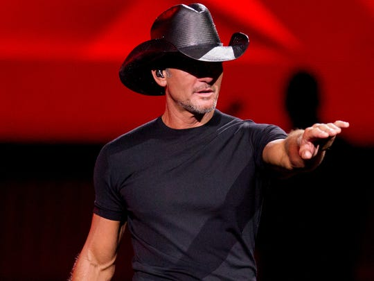 Tim McGraw motions to the audience on July 20, 2018,