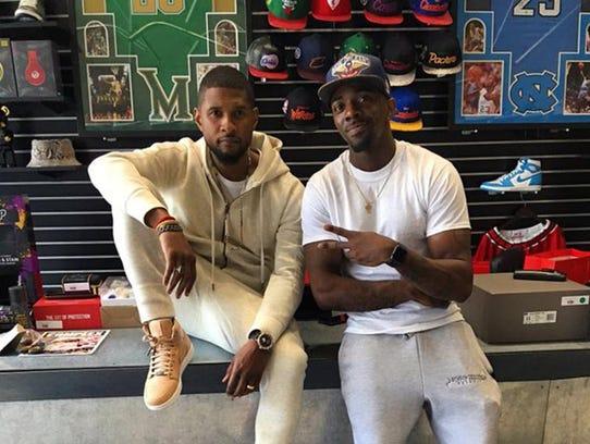 Pop superstar Usher visited Nojo Kicks, a shoe store