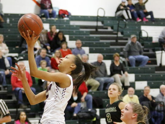 Zaria Thomas goes in for a layup against Vestal earlier