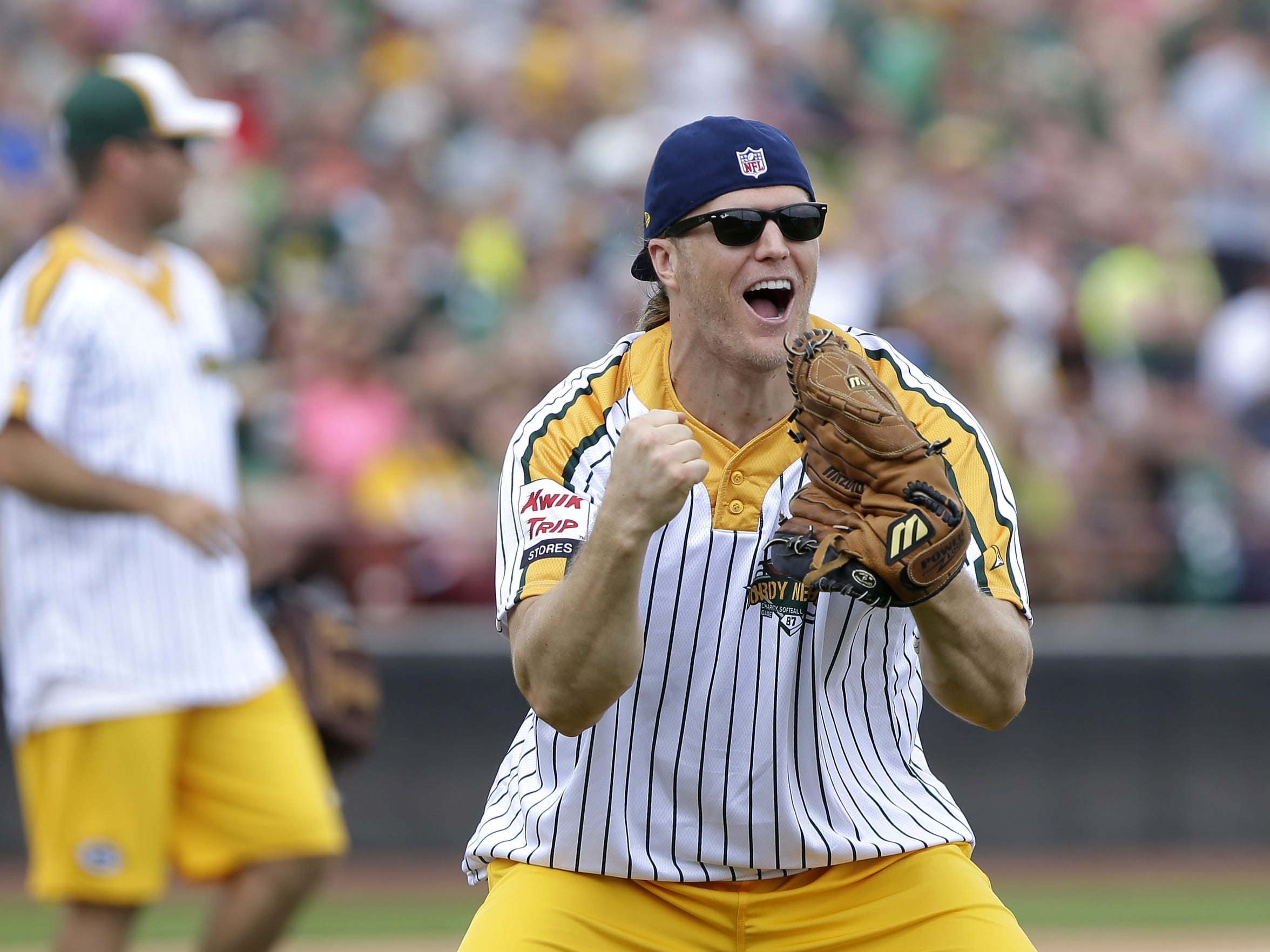 Clay Matthews was among the Packers players taking part in the Jordy Nelson Charity Softball Game in 2015.