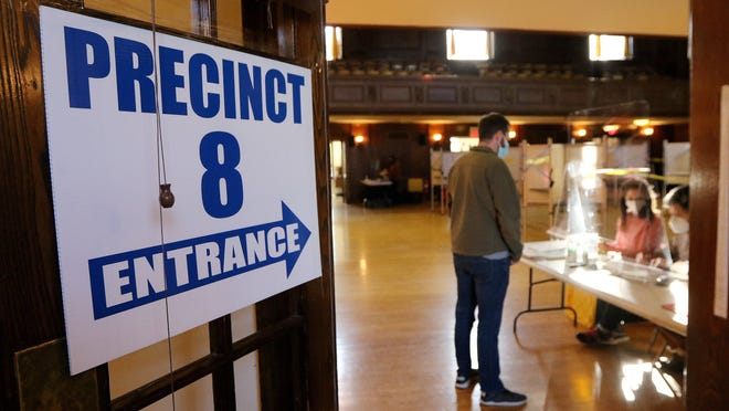 There was a steady stream of voters into Arlington Town hall on Election Day, Nov. 3, 2020.