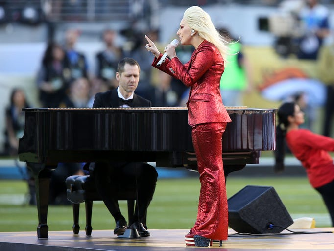 Lady Gaga performs the National Anthem  prior to in
