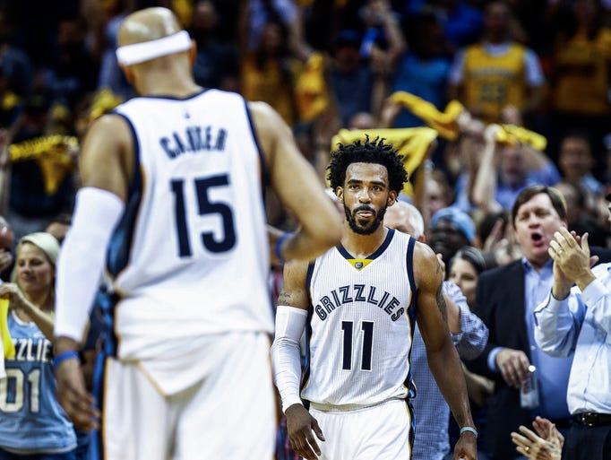 Memphis Grizzlies guard Mike Conley celebrates  during