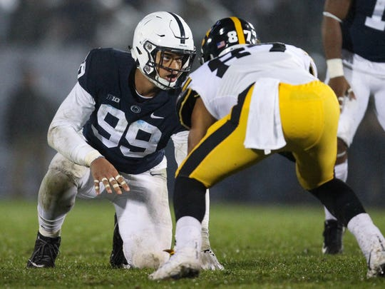 Oct 27, 2018; University Park, PA, USA; Penn State Nittany Lions defensive end Yetur Gross-Matos (99) during the fourth quarter against the Iowa Hawkeyes at Beaver Stadium. Penn State defeated Iowa 30-24. Mandatory Credit: Matthew O'Haren-USA TODAY Sports