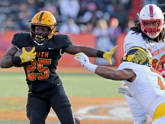 Jan 25, 2020; Mobile, AL, USA; South running back Eno Benjamin of Arizona State (25) runs with the football in the second half of the 2020 Senior Bowl college football game at Ladd-Peebles Stadium. Mandatory Credit: Chuck Cook-USA TODAY Sports