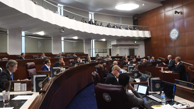 Second from right, Steve Hill, executive dirctor of the governor's office of Economic Development, addresses the Nevada Senate Thursday morning concerning the $1.25 billion tax incentive for Tesla.