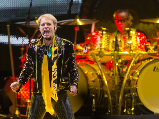David Lee Roth fronts Van Halen as they perform at Bankers Life Fieldhouse, Feb. 22, 2012.