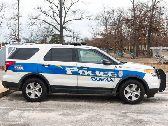 A police cruiser at the Buena Borough Police station