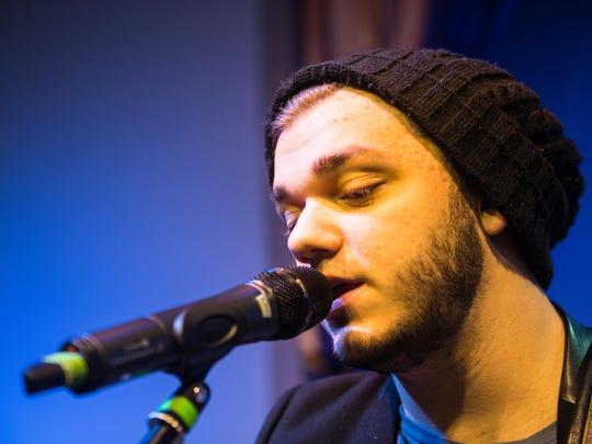 Dawson Coyle rehearses at Calvary Chapel Vineland Thursday.