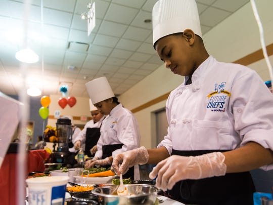 Terrance Brown prepares his Veggie Taco during Vineland's Junior Chef competition on Wednesday, March 22 at Wallace Intermediate School.