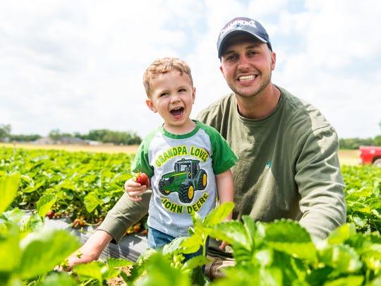 Joe Sparacio, owner of Sparacio Farms, picks fresh strawberries with nephew Jacob Sparacio at Sparacio Farms in Rosenhayn on Tuesday, May 2.