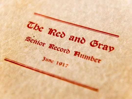 Vineland High School's original 1917 yearbook 'The Red and Gray Senior Record Number.'