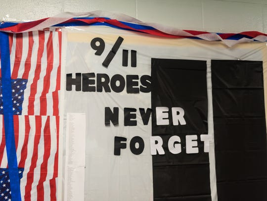 A display for 9/11 remembrance at Myron L. Powell Elementary