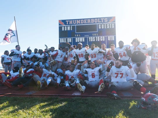 Vineland celebrates a win against Millville at John Barbose Stadium on Thursday, November 23.