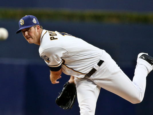 San Diego Padres starting pitcher Drew Pomeranz works against the Pittsburgh Pirates during the first inning of a baseball game Wednesday, April 20, 2016, in San Diego. (AP Photo/Lenny Ignelzi)