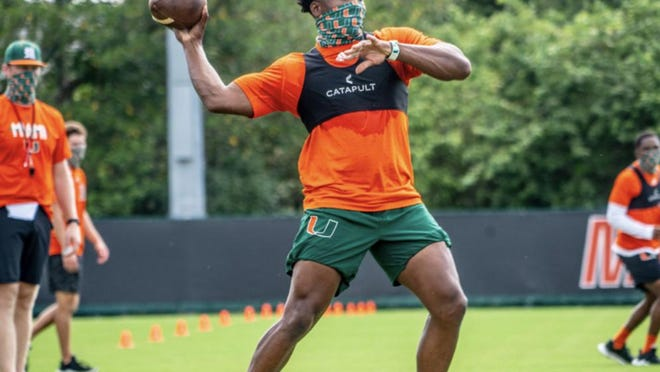 Miami football players are being leaders on campus when it comes to wearing masks.