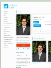 """Talkline"" radio host Zev Brenner is pictured on the podcast page where episodes are housed."