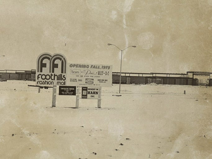 A sign sits at the future home of the Foothills Fashion Mall in 1972.
