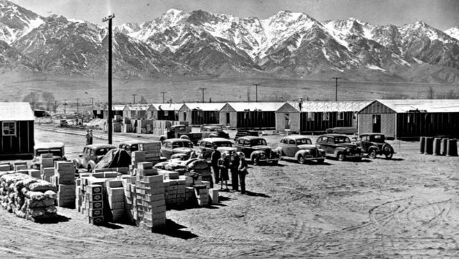 A historical photo of the Manzanar internment camp in the desert near Independence, California.