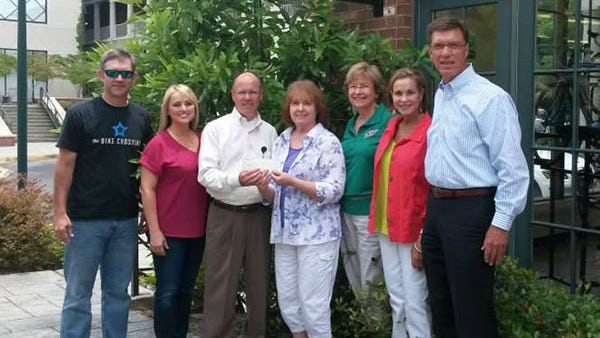 In the photo, members of the committee for the 100 Miles of Mayhem event present a $14,000 check to the Wilson Research Foundation.  From left, Michael Bartley, Michele Corley, Chris Blount, Linda Bartley, Becky Morgan, Kathy Robinson, Gary Armstrong.