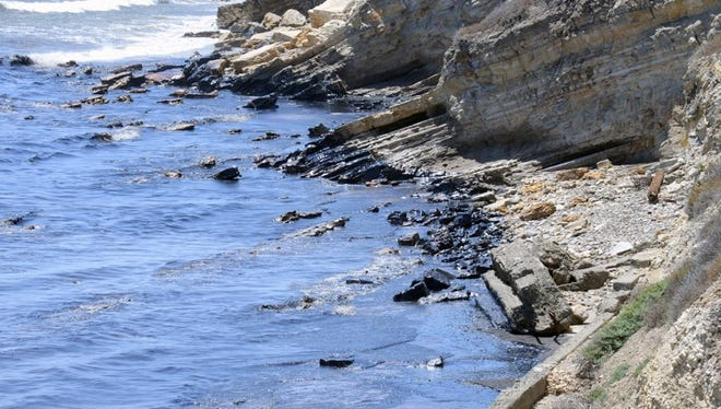 This photo provided by the Santa Barbara County Fire Department shows an oil slick from a broken pipeline off the central California coast near Santa Barbara on Tuesday.