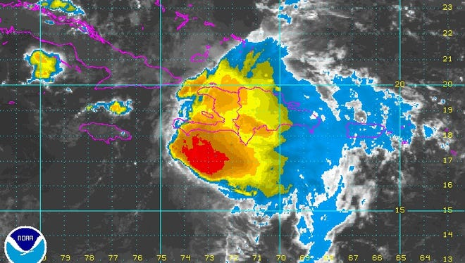 Tropical Storm Erika as seen from enhanced satellite imagery at 2:20 a.m. on Aug. 29.