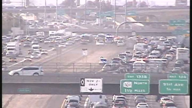 A wreck on Interstate 10 caused traffic delays near 91st Avenue on Dec. 24, 2015