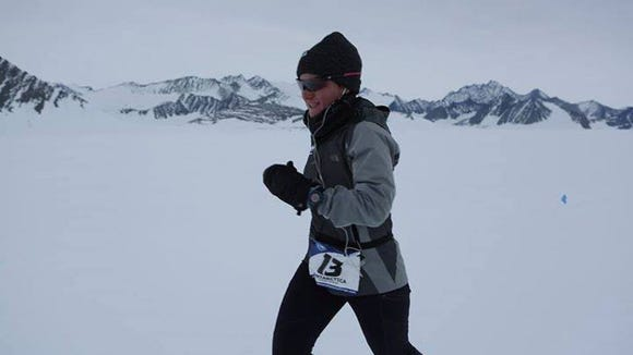 Becca Pizzi competes in the Antarctic leg of the World Marathon Challenge. A Mars Hill University grad, Pizzi has been dominating the seven-marathon race.