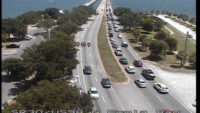 Heavy traffic toward Pensacola Beach.