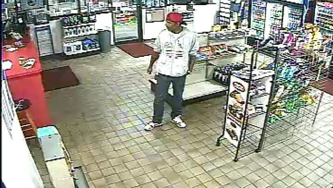 The suspect from a robbery that occurred Sunday evening at the Coldiron Fuel station on Church Street. The suspect was described as a light-skinned black male, approximately 6 feet tall, and having a mustache and beard.  The suspect was wearing jeans, a white sweatshirt with writing, and a red baseball cap worn backwards.