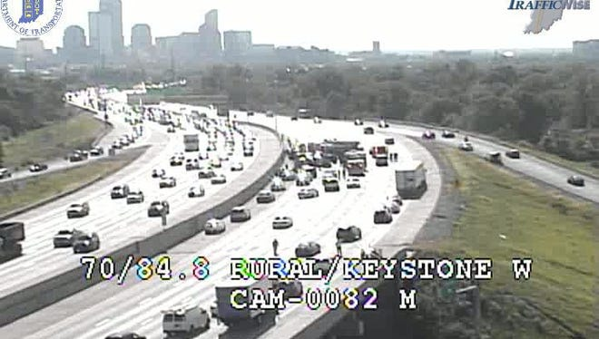 Four westbound lanes of Interstate 70 were closed on the east side due to a crash that started as a police chase.