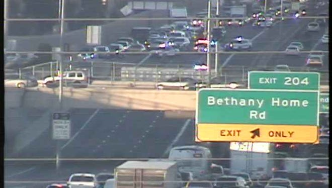 A crash on Interstate 17 near Bethany Home Road snarled southbound traffic during the evening commute on Jan. 11, 2017.