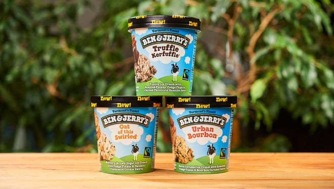 Ben & Jerry's new flavors for 2017 are Urban Bourbon, Truffle Kerfuffle and Oat of this Swirl.