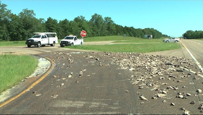 Mississippi Highway Patrol is working an incident in which catfish parts spilled all over the road in Starkville