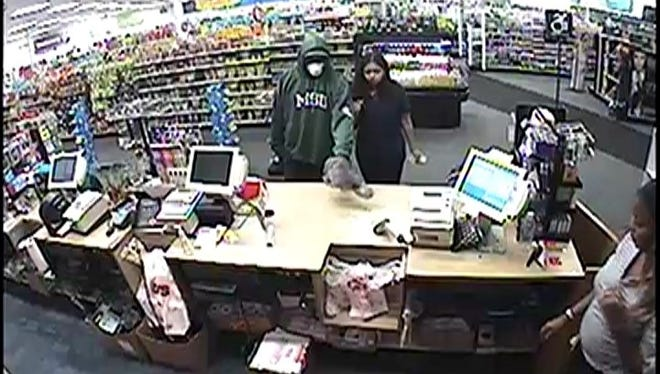 Police say this armed robbery suspect is being sought for a holdup that occurred at a CVS pharmacy.