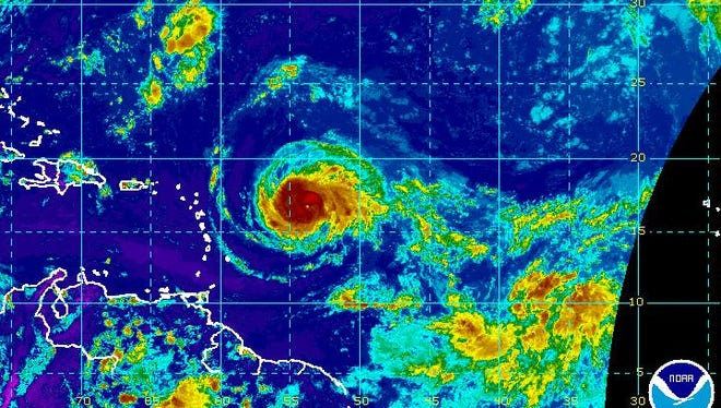 A satellite image of Hurricane Irma on Monday, Sept. 4, 2017.