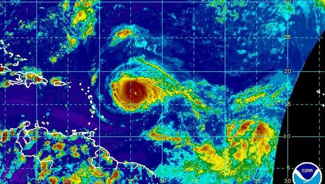 A satellite image of Hurricane Irma on Monday, Sept. 4, 2017.