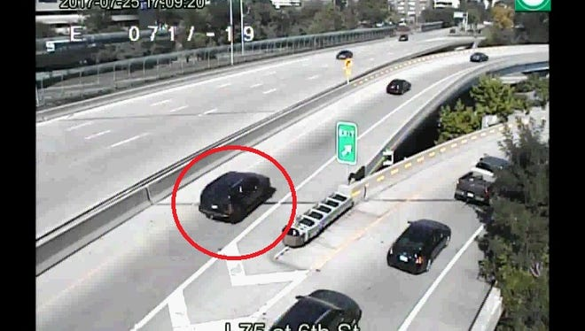 Cincinnati Police would like to talk with the driver or passengers in the red van, the PT cruiser and the black SUV about a shooting on July 25th on the West Sixth Street ramp to I-75 South.