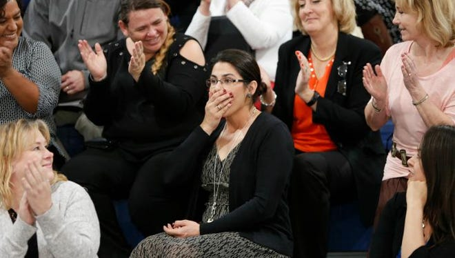 Deming Intermediate math department head Melanie Alfaro was surprised by news she had won the Milken Educator Award.